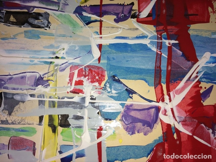 Arte: COMPOSICIÓN ABSTRACTA. ACRÍLICO-ÓLEO SOBRE PAPEL. FIRMADO. ESPAÑA. SIGLO XX - Foto 5 - 109367343
