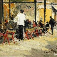 Arte: JOSEP Mª MARTÍNEZ LOZANO (BARCELONA, 1923 - LLANÇÀ, 2006) OLEO SOBRE TABLEX. TERRAZA DE UN BAR. Lote 109413795