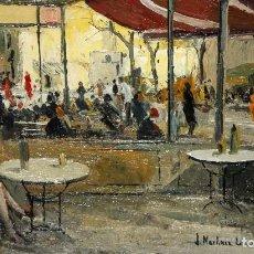 Arte: JOSEP Mª MARTÍNEZ LOZANO (BARCELONA, 1923 - LLANÇÀ, 2006) OLEO SOBRE TABLEX. TERRAZA DE UN BAR. Lote 109413839