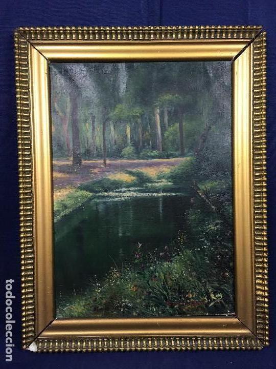 Oleo lienzo enmarcado firma j rey paisaje jardi comprar for Pintura para estanques