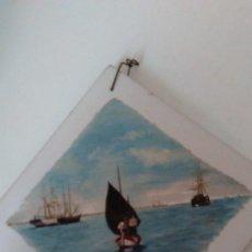 Arte: OLEO SOBRE AZULEJO. MARINA. FIRMADO. 20 CM X 20 CM. Lote 109452527