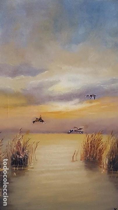 PUESTA DE SOL EN EL LAGO. OLEO DE LEO MARTIN PINELA. (Arte - Pintura - Pintura al Óleo Contemporánea )