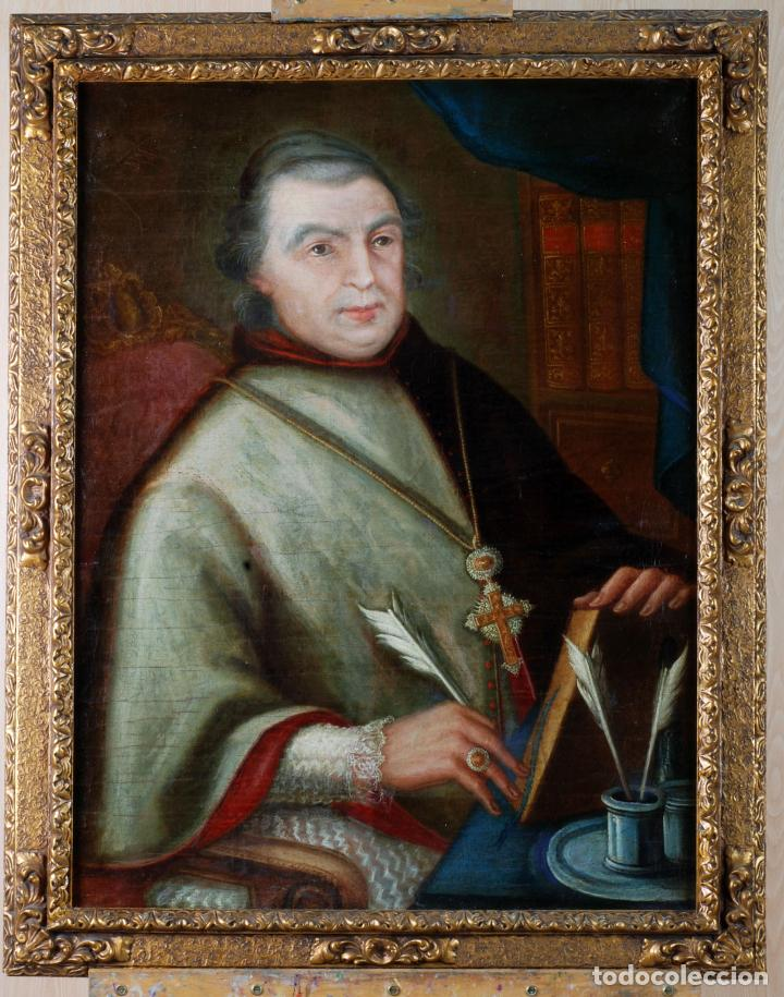 RETRATO ARZOBISPO ÓLEO SOBRE LIENZO ESCUELA ESPAÑOLA SIGLO XVIII (Arte - Pintura - Pintura al Óleo Antigua siglo XVIII)