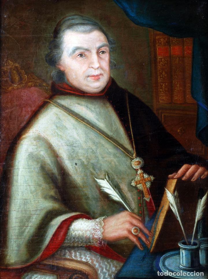 Arte: Retrato arzobispo óleo sobre lienzo escuela española siglo XVIII - Foto 2 - 109566467