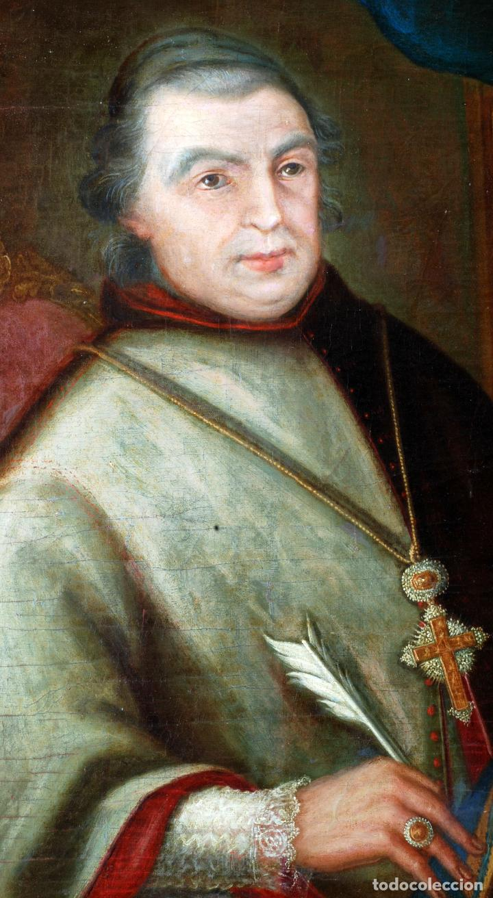 Arte: Retrato arzobispo óleo sobre lienzo escuela española siglo XVIII - Foto 3 - 109566467