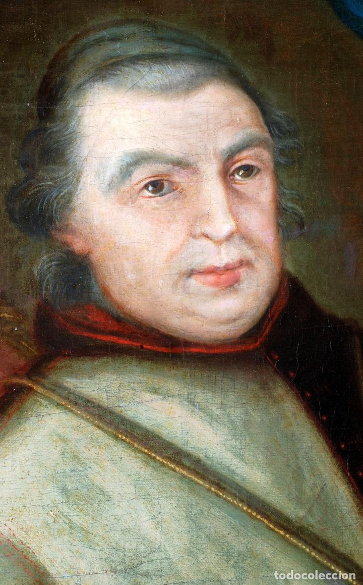 Arte: Retrato arzobispo óleo sobre lienzo escuela española siglo XVIII - Foto 4 - 109566467
