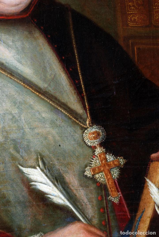 Arte: Retrato arzobispo óleo sobre lienzo escuela española siglo XVIII - Foto 5 - 109566467