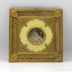 Arte: ANTIGUO CUADRO RETRATO MINIATURA PINTADA A MANO SOBRE MARFIL ANTIQUE 1800S VICTORIAN HAND-PAINTED . Lote 109655783