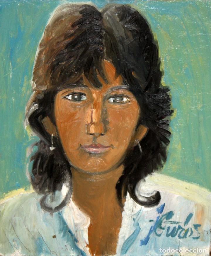JORDI CURÓS VENTURA (1930 - 2017) OLEO SOBRE TELA. RETRATO FEMENINO FECHADO DEL AÑO 1966 (Arte - Pintura - Pintura al Óleo Contemporánea )