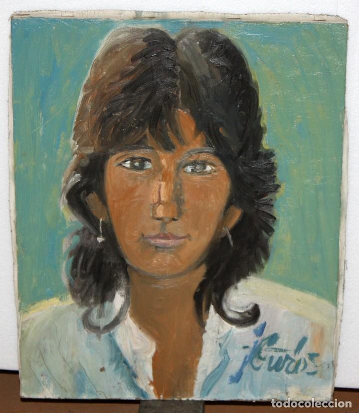 Arte: JORDI CURÓS VENTURA (1930 - 2017) OLEO SOBRE TELA. RETRATO FEMENINO FECHADO DEL AÑO 1966 - Foto 2 - 109935951