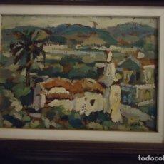Arte: PUEBLO DE MENORCA. ÓLEO SOBRE TABLA FIRMADO A. MOLL. OBRA ORIGINAL. Lote 110032587