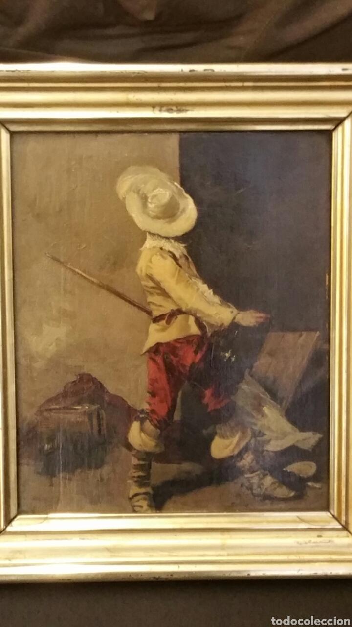 TABLA PINTADA AL ÓLEO SIGLO XIX REPRESENTANDO MOSQUETERO O SOLDADO DE LOS TERCIOS (Arte - Pintura - Pintura al Óleo Antigua sin fecha definida)