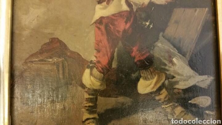 Arte: Tabla pintada al óleo siglo XIX representando mosquetero o soldado de los tercios - Foto 3 - 110098740