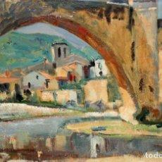 Arte: JOSE CASES CAPO (1906 - ??) OLEO SOBRE TELA FECHADO DEL AÑO 1962. BESALÚ. Lote 110152911