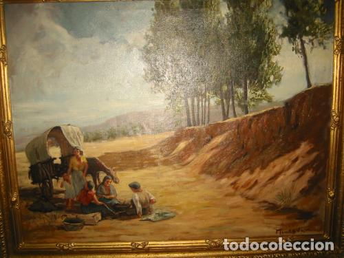 CARRETA GITANA-OLEO SOBRE LIENZO- ARTE Y PINTURA FIRMADO POR MUNTADA (Arte - Pintura - Pintura al Óleo Contemporánea )