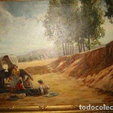 Arte: CARRETA GITANA-OLEO SOBRE LIENZO- ARTE Y PINTURA FIRMADO POR MUNTADA. Lote 110170427