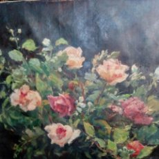 Arte: JARRON CON ROSAS, BONITO OLEO DE JOSEP VICENS SOLA ANDREU, BARCELONA 1878-1960, SIN MARCO. Lote 110186015