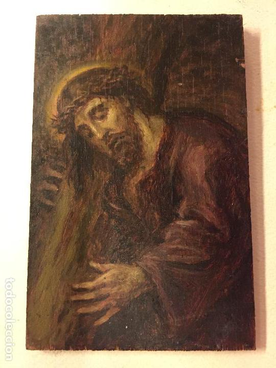 CRISTO. PEQUEÑO OLEO SOBRE TABLA (Arte - Pintura - Pintura al Óleo Antigua sin fecha definida)