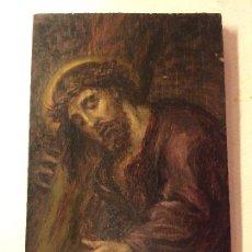 Arte: CRISTO. PEQUEÑO OLEO SOBRE TABLA. Lote 110198171