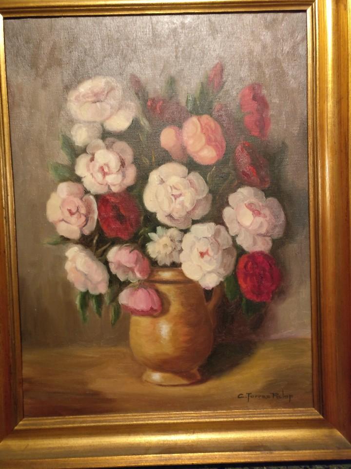 Arte: Cuadro de flores, bodegón floral años 50-60 - Foto 4 - 47068760