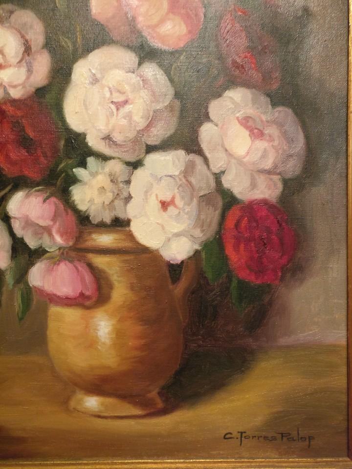 Arte: Cuadro de flores, bodegón floral años 50-60 - Foto 5 - 47068760