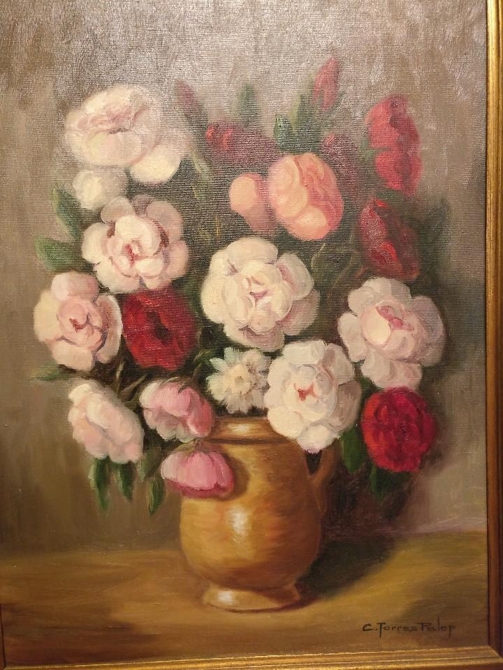 Arte: Cuadro de flores, bodegón floral años 50-60 - Foto 6 - 47068760