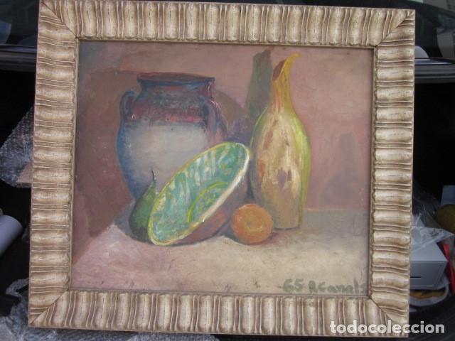 Arte: cuadro oleo bodegon enmarcado con firma R. Canals, año 65, medidas: 68 x 59 - Foto 4 - 110330611
