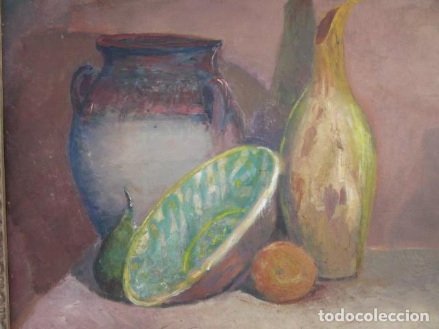 Arte: cuadro oleo bodegon enmarcado con firma R. Canals, año 65, medidas: 68 x 59 - Foto 5 - 110330611