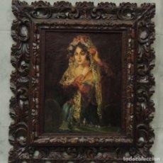 Arte: CUADRO O/L RETRATO MUJER MANTILLA S.XIX. LEONARDO ALENZA. Lote 110456611