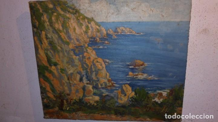 PAISAJE DE TOSSA DE MAR . AUTOR JOSEP AMAT I VIRGILI . PINTURA AL OLEO AÑOS 20/30 - 55X46 CM. (Arte - Pintura - Pintura al Óleo Moderna sin fecha definida)