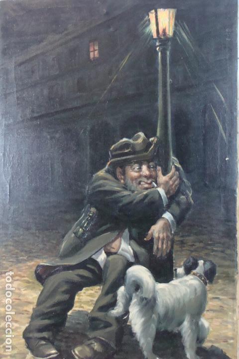 ÓLEO SOBRE LIENZO - BORRACHO - SIGLO XX. (Arte - Pintura - Pintura al Óleo Moderna sin fecha definida)