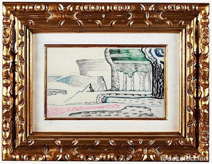 JOAN BROTAT VILANOVA - PAYSAGE FANTASTIQUE, TÉCNICA MIXTA SOBRE PAPEL (Arte - Pintura - Pintura al Óleo Contemporánea )