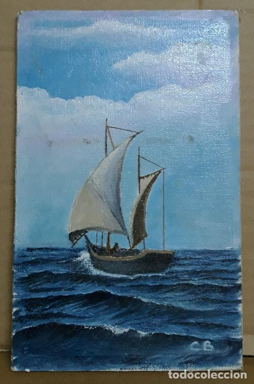 PEQUEÑA MARINA / ÓLEO SOBRE TABLA. (Arte - Pintura - Pintura al Óleo Moderna sin fecha definida)