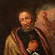 Arte: ÓLEO S/COBRE -LA NEGACIÓN DE SAN PEDRO-. ESCUELA ESPAÑOLA S. XVIII. DIM.- 49,5X43,5 CMS.. Lote 110830195