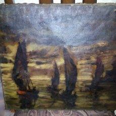 Arte: ANTIGUO OLEO SOBRE LIENZO (MARINA)REPINTADO. Lote 110840666