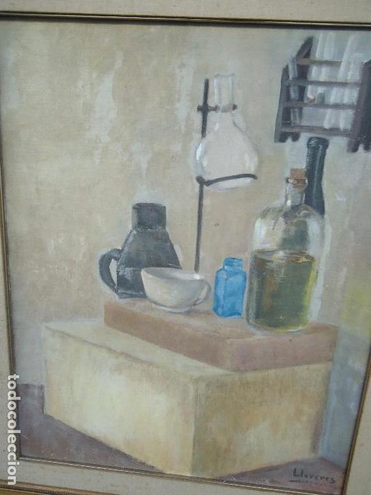 Arte: MAGNIFICO LIENZO BODEGON QUIMICO por Ángeles Lloveres Rúa-Figueroa -A Coruña 1944 - Foto 2 - 110898555
