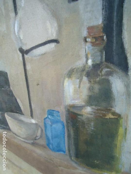 Arte: MAGNIFICO LIENZO BODEGON QUIMICO por Ángeles Lloveres Rúa-Figueroa -A Coruña 1944 - Foto 3 - 110898555