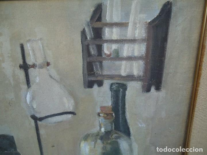 Arte: MAGNIFICO LIENZO BODEGON QUIMICO por Ángeles Lloveres Rúa-Figueroa -A Coruña 1944 - Foto 4 - 110898555