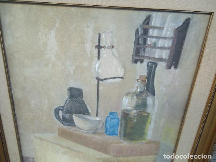 Arte: MAGNIFICO LIENZO BODEGON QUIMICO por Ángeles Lloveres Rúa-Figueroa -A Coruña 1944 - Foto 5 - 110898555