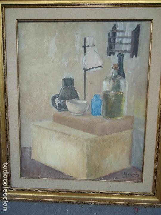 MAGNIFICO LIENZO BODEGON QUIMICO POR ÁNGELES LLOVERES RÚA-FIGUEROA -A CORUÑA 1944 (Arte - Pintura - Pintura al Óleo Moderna sin fecha definida)