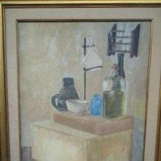 Arte: MAGNIFICO LIENZO BODEGON QUIMICO POR ÁNGELES LLOVERES RÚA-FIGUEROA -A CORUÑA 1944. Lote 110898555