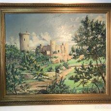 Arte: OLEO SOBRE TELA DEL CASTILLO DE BELLVER MALLORCA, FIRMADA MARTIN ALSINA 1953.. Lote 111002019
