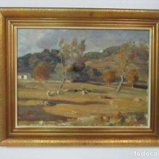 Arte: ÓLEO SOBRE TELA - RAMÓN BARNADAS (OLOT 1909 - GIRONA 1981) - PAISAJE -TITULO, TARDOR A LES COROMINAS. Lote 111024315