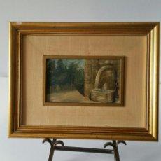 Arte: ANTIGUO OLEO SOBRE TABLA - FIRMADO R. CASILARI - FUENTE DE PUEBLO - AÑOS 50/60. Lote 111030071