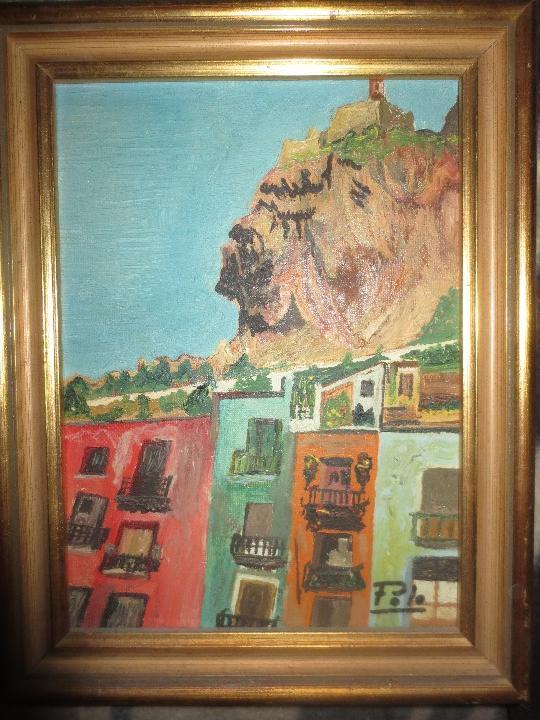 PINTURA ALICANTINA OLEO EN LIENZO FIRMADO BARRIO SAN ROQUE Y CASTILLO DE ALICANTE MARCO DORADO (Arte - Pintura - Pintura al Óleo Contemporánea )