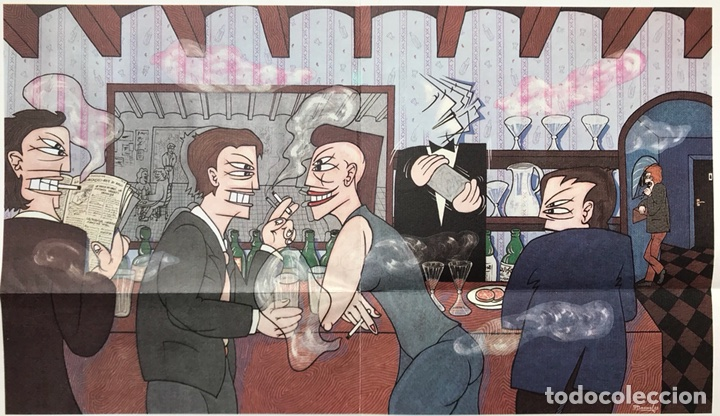 Arte: GRAN CUADRO OLEO VINTAGE PINTOR JOSE LUIS PASCUAL SAMARANCH BARCELONA AÑO 83 BAR PUB SALA FIESTAS (7 - Foto 2 - 111231198