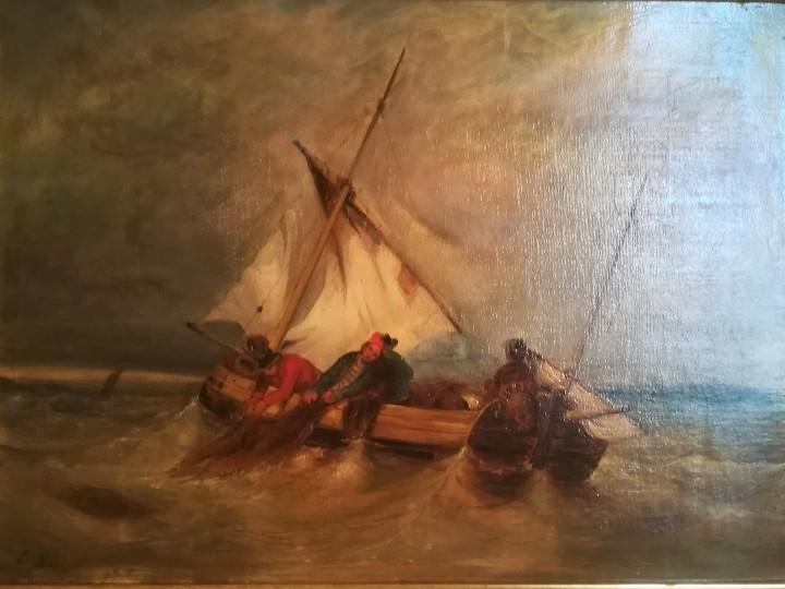 Arte: PINTURA FRANCESA SIGLO XIX, OLEO,BARCOS Y MARINEROS,ESCENA PESCA EN ALTA MAR,FIRMADO E. ISABEY - Foto 2 - 107315811