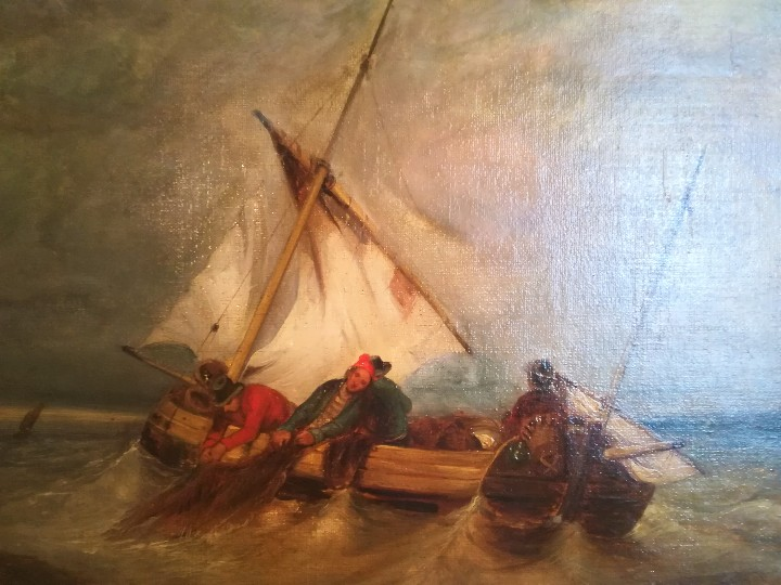Arte: PINTURA FRANCESA SIGLO XIX, OLEO,BARCOS Y MARINEROS,ESCENA PESCA EN ALTA MAR,FIRMADO E. ISABEY - Foto 3 - 107315811
