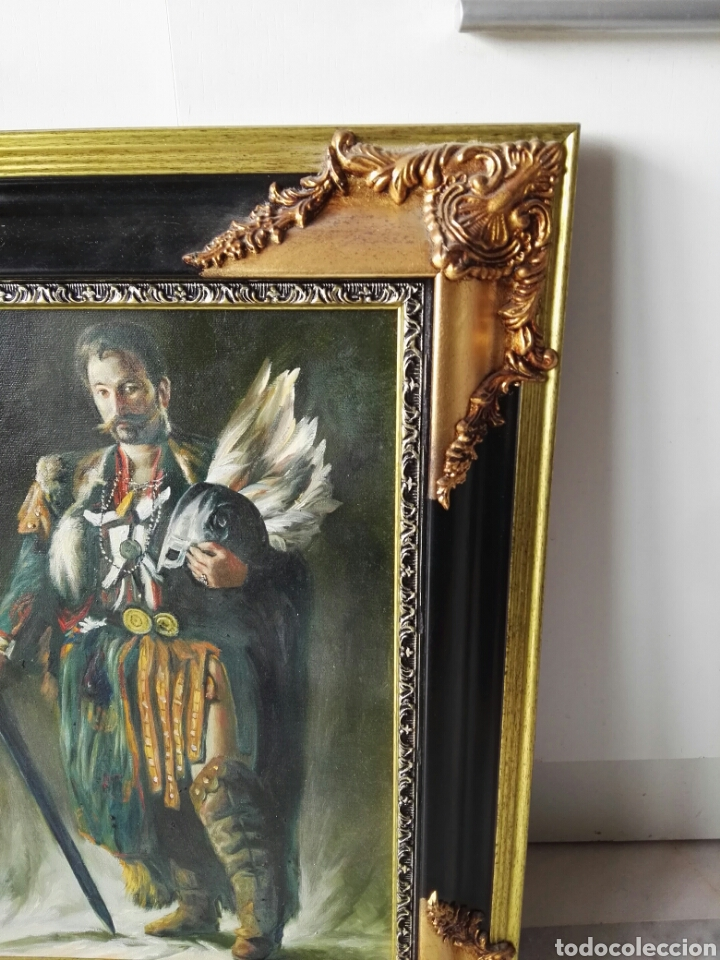 Arte: Gran retrato al oleo sobre lienzo sin firmar 54x44 - Foto 5 - 111242346