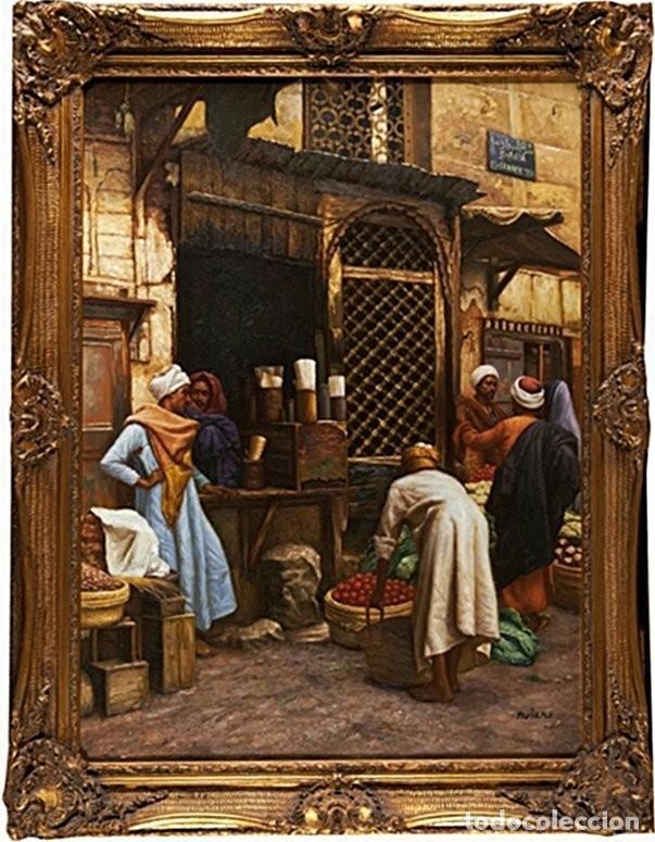 LUDWIG DEUTSCH -REPRODUCCIÓN- SHARIA EL-SANADKYEH, ÓLEO SOBRE LIENZO ENMARCADO (Arte - Pintura - Pintura al Óleo Moderna siglo XIX)